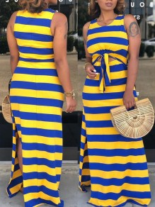 Yellow-Blue Striped Spaghetti Strap Knot Cut Out Slits Sides Bohemian Casual Maxi Dress
