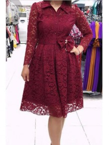 Burgundy Floral Lace Single Breasted Sashes Turndown Collar Plus Size Homecoming Midi Dress