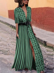 Green Striped Deep V-neck High Waisted Slit Flowy Country Bohemian Party Maxi Dress