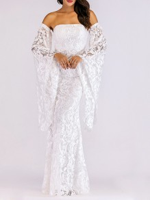 White Patchwork Lace Bandeau Boat Neck Fashion Maxi Dress