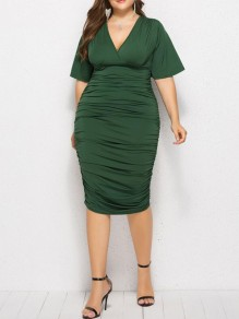 Green Ruched High Waisted Cherrykeke Plus Size Deep V-neck Elegant Prom Mini Dress