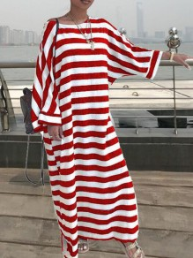 Red White Stripe Print Draped Round Neck Long Sleeve Casual Maxi Dress