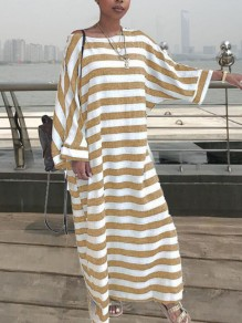 Khaki White Stripe Print Draped Round Neck Long Sleeve Casual Maxi Dress