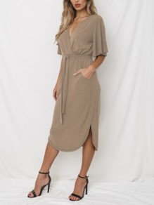 Coffee Pleated Belt V-neck Elbow Sleeve Fashion Midi Dress