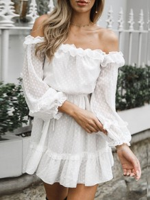 White Polka Dot Ruffle Belt Boat Neck Long Sleeve Party Mini Dress
