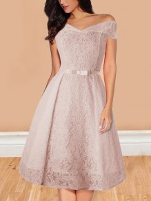Apricot Floral Lace Belt Off Shoulder Backless Adult Tutu Homecoming Elegant Midi Dress
