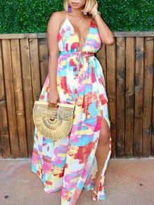 Pink Floral Drawstring Spaghetti Strap Backless Side Slits Deep V-neck Bohemian Maxi Dress