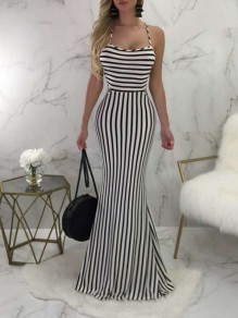White-Black Striped Halter Neck Backless Cross Back Bodycon Mermaid Prom Evening Party Maxi Dress
