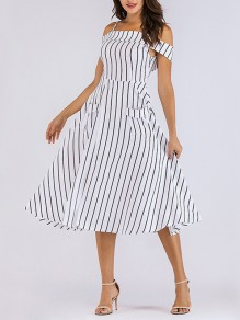 White-Black Striped Off Shoulder Spaghetti Strap Pockets Backless Tutu Homecoming Party Maxi Dress