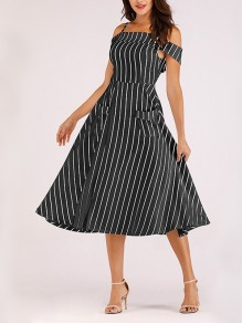 Black-White Striped Off Shoulder Spaghetti Strap Pockets Backless Tutu Homecoming Party Maxi Dress