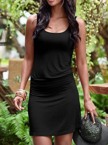 Black Irregular Backless Casual Going out Mini Dress