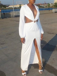 White Cut Out Backless Front Slit High-Low Deep V-neck Elegant Prom Party Maxi Dress