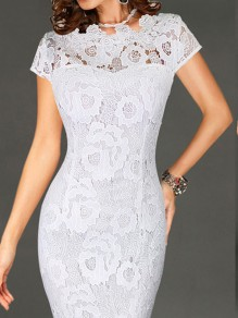 White Lace Patchwork Round Neck Short Sleeve Midi Dress