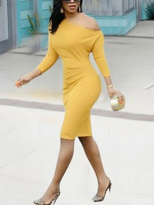Yellow Irregular One-Shoulder 3/4 Sleeve Bodycon Elegant Midi Dress