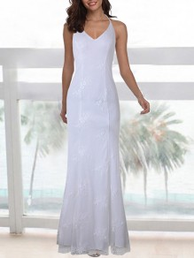 White Patchwork Lace Tie Back Spaghetti Strap V-neck Backless Maxi Dress