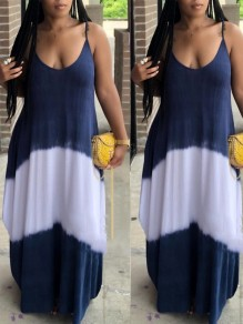 Navy Blue Patchwork Spaghetti Strap Pockets Draped Beschwear Party Maxi Dress