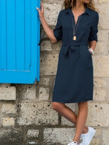Navy Blue Sashes Buttons Turndown Collar Mini Dress