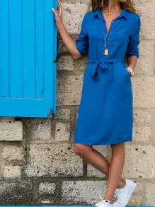 Sky Blue Sashes Buttons Turndown Collar Mini Dress