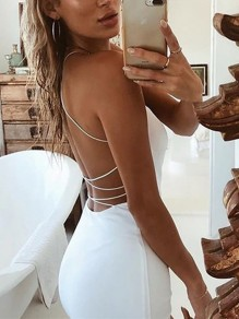 White Tie Back U-neck Fashion Mini Dress