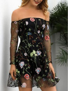 Black Floral Embroidery Grenadine Off Shoulder Backless Mexican Vintage Homecoming Party Mini Dress