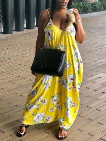Yellow Floral Draped Spaghetti Strap Backless Deep V-neck Bohemian Maxi Dress