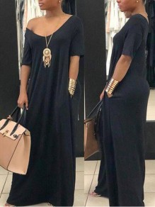 Black Pockets Off Shoulder Deep V-neck Half Sleeve Casual Maxi Dress