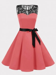 Pink Patchwork Lace Bow Draped Round Neck Sleeveless Mini Dress
