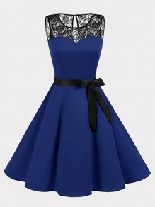 Navy Blue Patchwork Lace Bow Draped Round Neck Sleeveless Mini Dress