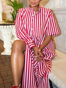 Red-White Striped Buttons Pockets Slit Irregualr Draped Asymmetrical Sleeve Casual Maxi Dress