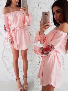 Pink Flowers Bandeau Sashes Off Shoulder Mini Dress