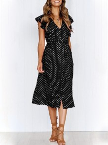 Black Polka Dot Print Ruffle Sashes V-neck Fashion Midi Dress