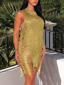 Golden Cut Out Slit Tassel Irregular Sheer Clubwear Party Mini Dress