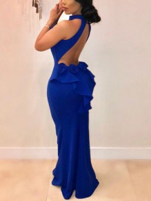 Royal Blue Ruffle Halter Neck Backless Mermaid Scuba Prom Wedding Banquet Maxi Dress