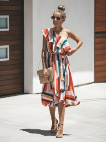 Orange Striped Asymmetric Shoulder Cascading Ruffle Irregular Bohemian Homecoming Party Midi Dress