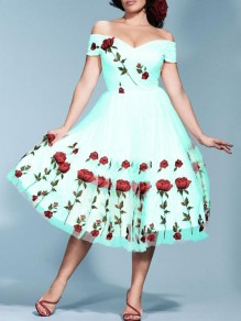 Tiffany Blue Patchwork Grenadine Embroidery Off Shoulder Backless Prom Homecoming Party Midi Dress