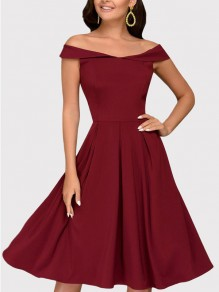 Red Draped Off Shoulder Short Sleeve Elegant Midi Dress