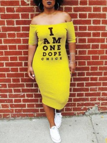 "Yellow ""I AM ONE DOPE CHICK"" Print Off Shoulder Backless Bodycon Casual Maxi Dress"
