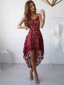 Red Patchwork Irregular Lace V-neck Casual Midi Dress