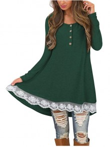 Green Patchwork Buttons Lace Round Neck Long Sleeve Casual Mini Dress