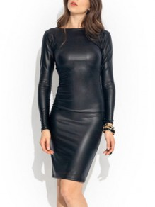 Black Zipper Long Sleeve Skinny Leather Fashion Midi Dress