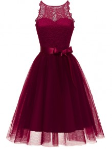 Wine Red Patchwork Lace Grenadine Bow Sleeveless Party Mini Dress