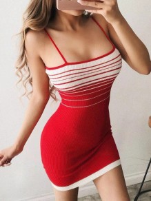 Red Striped Condole Belt Square Neck Fashion Mini Dress