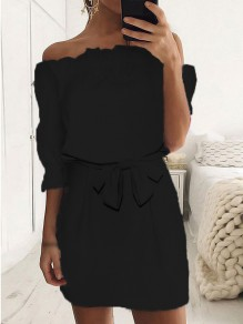 Black Bow Sashes Bandeau Off Shoulder Mini Dress