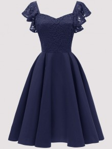 Navy Blue Patchwork Lace Draped Backless Short Sleeve Midi Dress