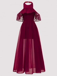 Wine Red Patchwork Lace Ruffle Draped Halter Neck Backless Maxi Dress