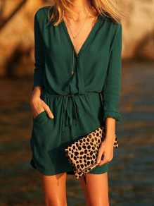 Green Drawstring Pockets V-neck Long Sleeve Fashion Mini Dress