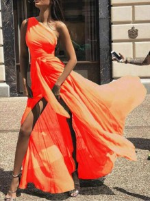 Orange Draped Sashes High Slit High Waisted One Shoulder Flowy Elegant Prom Bohemian Maxi Dress