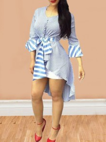 Blue-White Striped Sashes Irregular Flare Sleeve High Waisted High-low Casual Midi Dress
