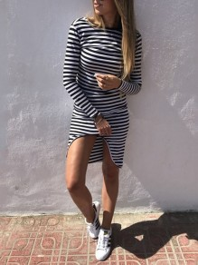 Black White Striped Irregular Open Back Ladies Bodycon Long Sleeve Casual Midi Dress