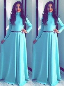 Light Blue Draped Long Sleeve Band Collar Party Maxi Dress